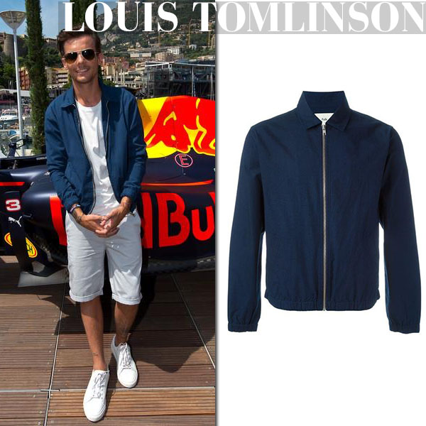 95be4d733f Louis Tomlinson in blue zipped jacket casual summer style