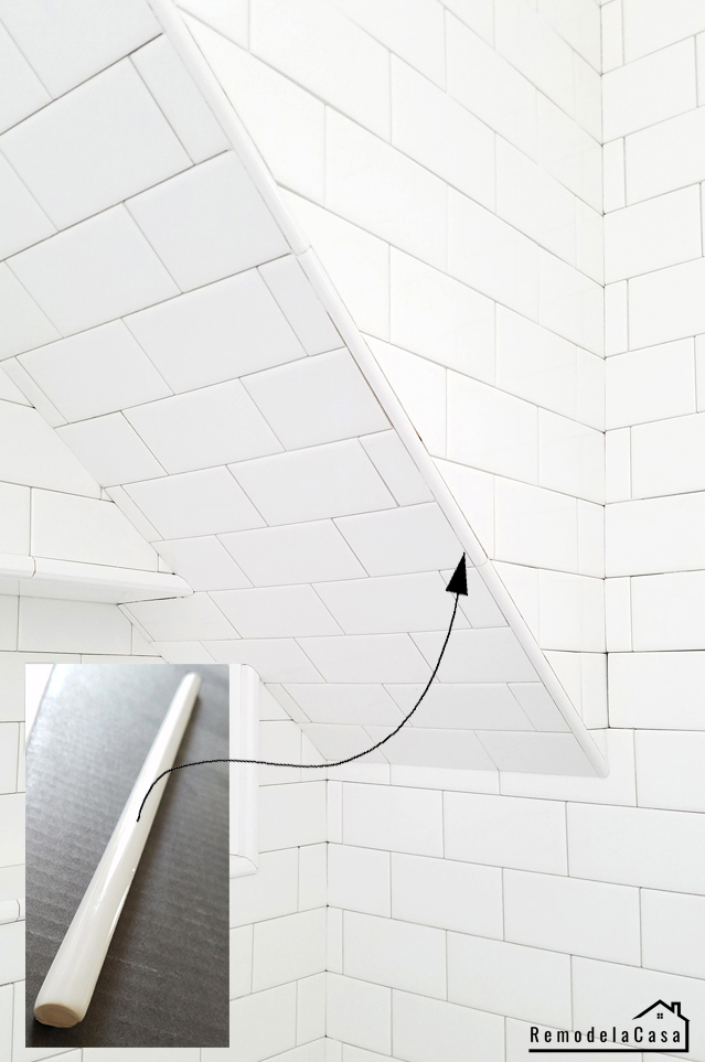 pencil tile on shower corner