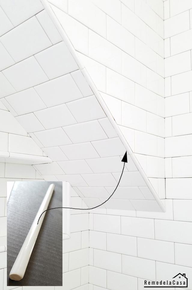 pencil tile on shower corner