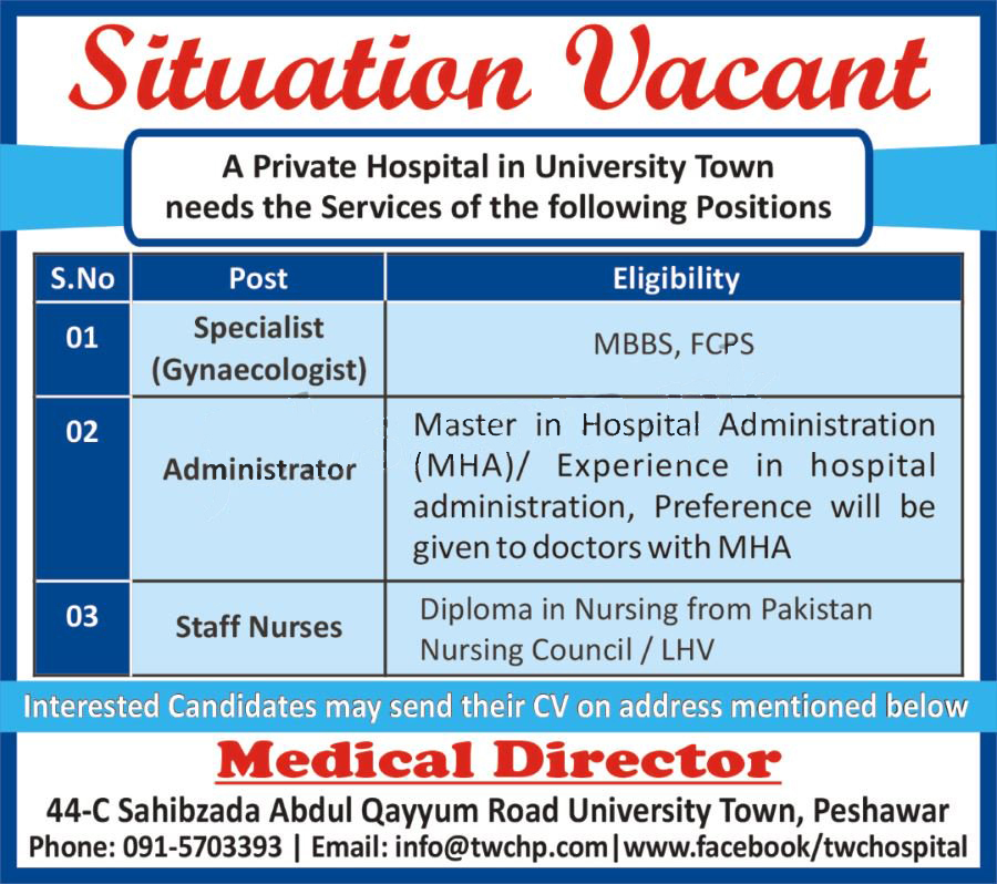 Medical Staff Required In University Town Peshawar 6 July 2017
