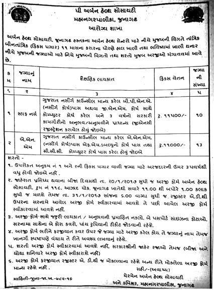 The Urban Health Society Junagadh Recruitment 2017 for 23 Staff Nurse & ANM Posts