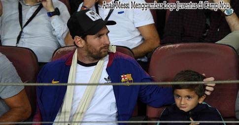 Anak Messi Menggambar Logo Juventus di Camp Nou
