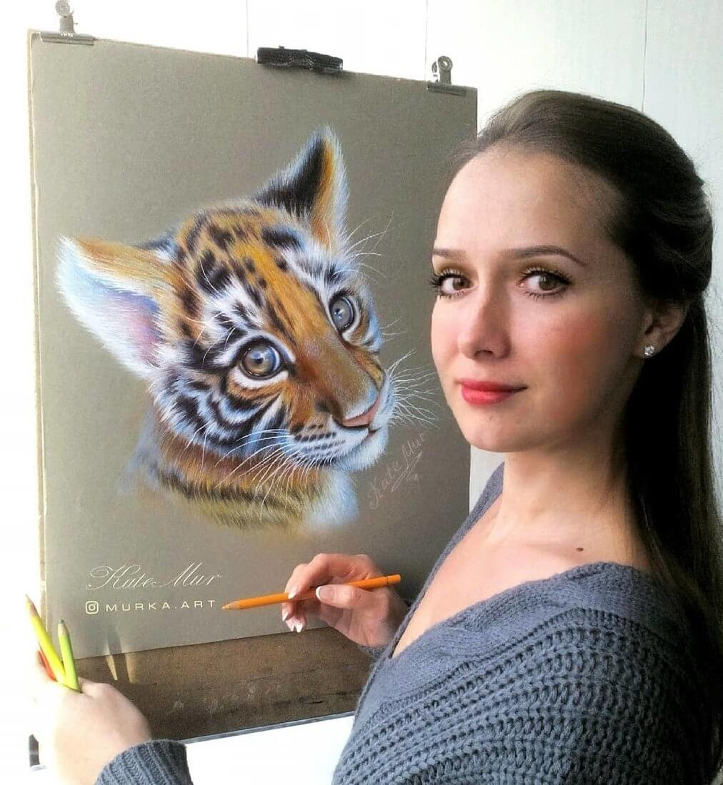 10-Tiger-Cub-Kate-Mur-Animal-Art-with-Pencil-Ballpoint-Pen-and-Paint-www-designstack-co