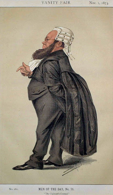 Cartoon of Edward Vaughan Hyde Kenealy, eccentric Irish Barrister, Illustration MEN OF THE DAY, No.71 Vanity Fair, 1 November 1873. Court Complexities and Legal Fiction, A Moron In A Hurry marchmatron.com