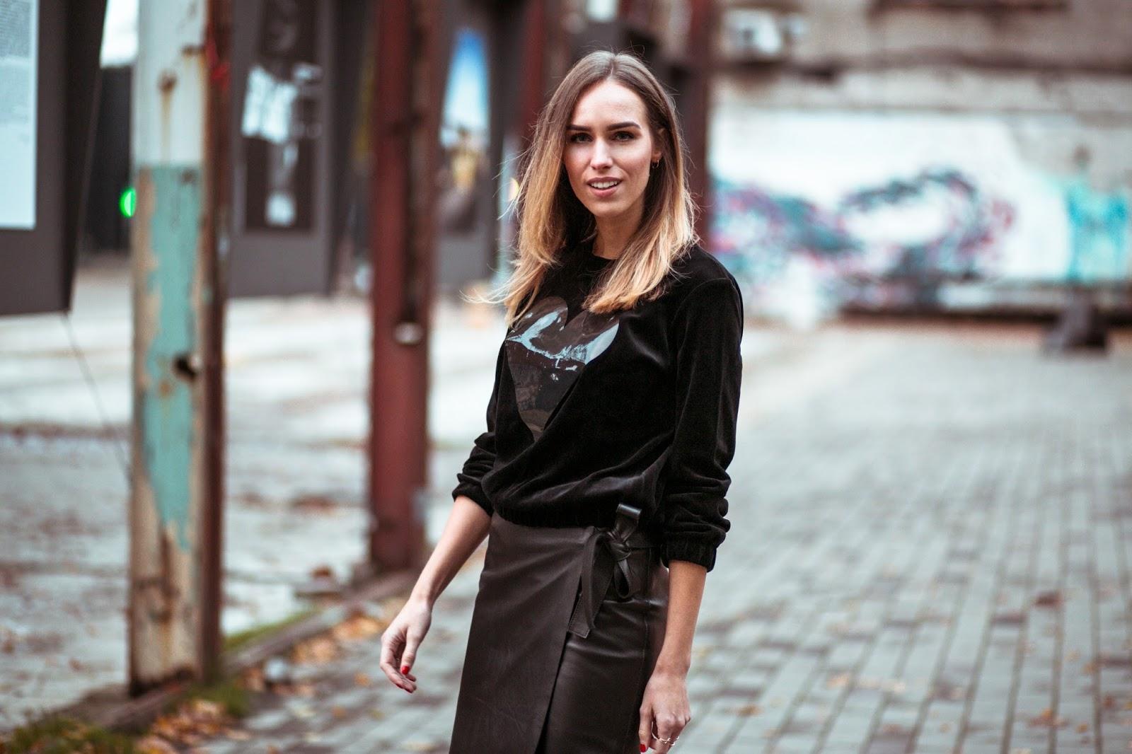 black velvet sweater street style