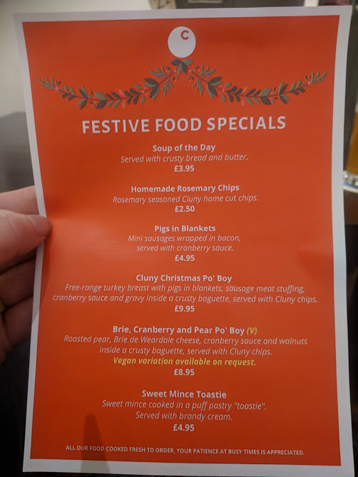 A Grown-Up Festive Weekend in Ouseburn - festive food menu at the cluny