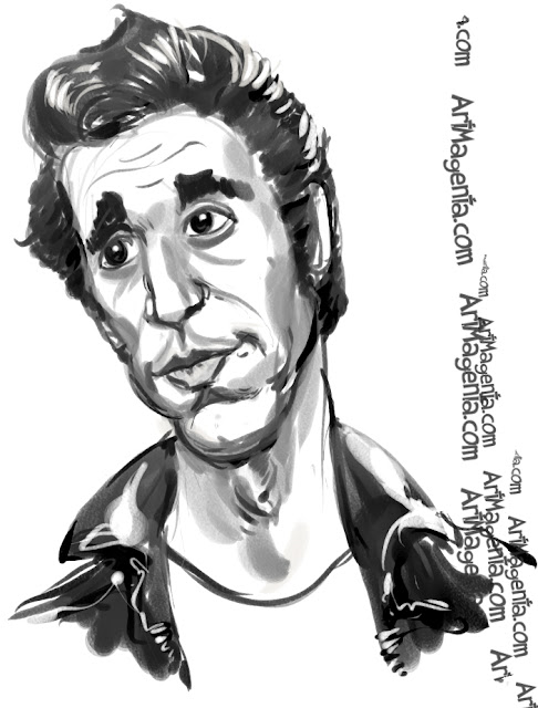 Henry Winkler caricature cartoon. Portrait drawing by caricaturist Artmagenta.
