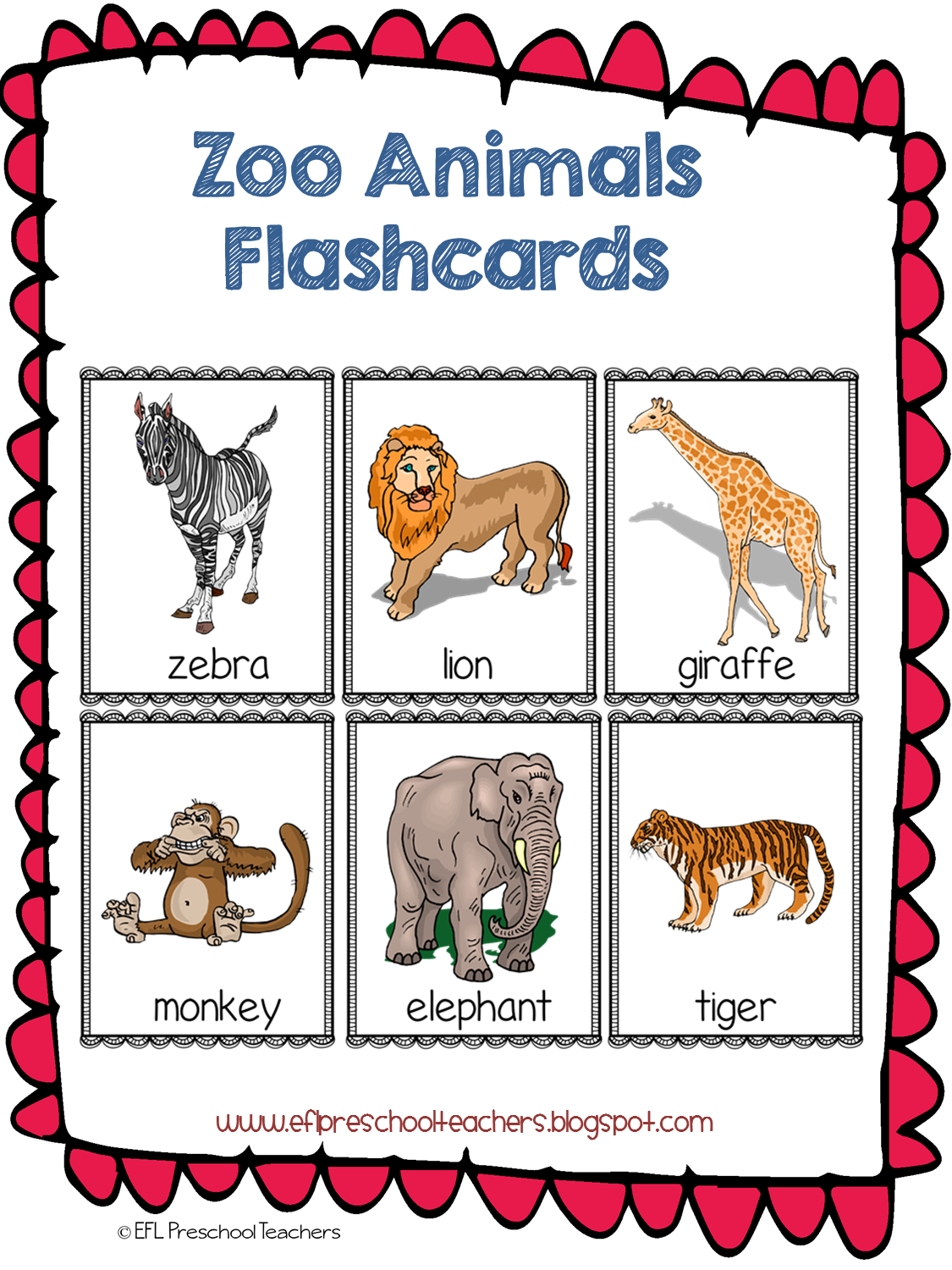 Esl Efl Preschool Teachers Zoo Animal Theme For The