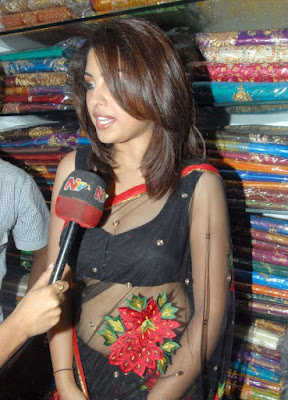 Richa Gangopadhyay hot in black Transparent Saree - Photo gallery