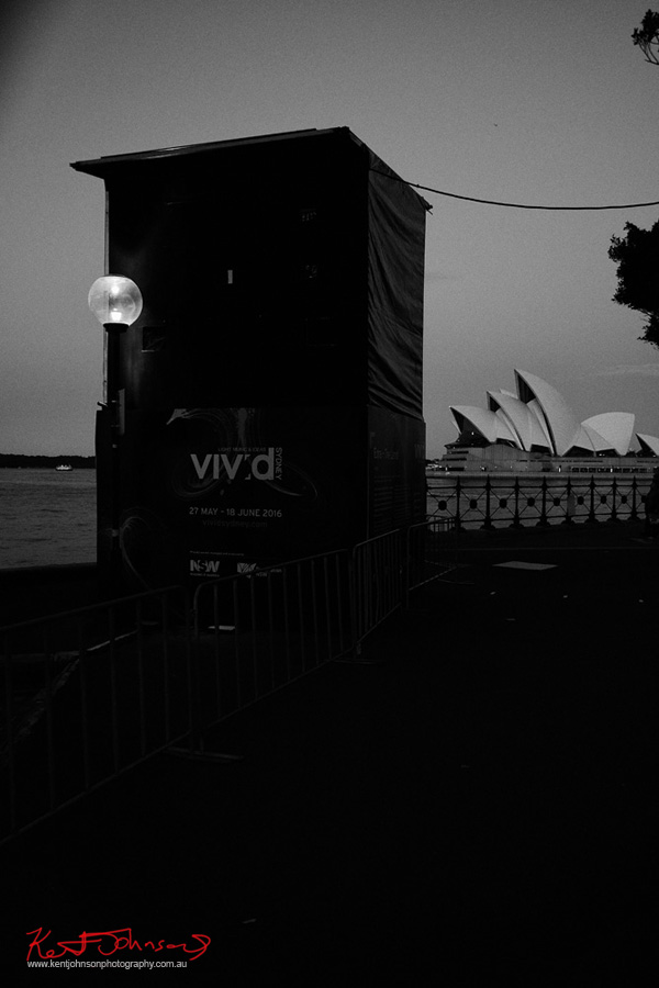 Projection booth, Sydney opera house in background at twilight. Vivid Sydney 2016. Photography by Kent Johnson.