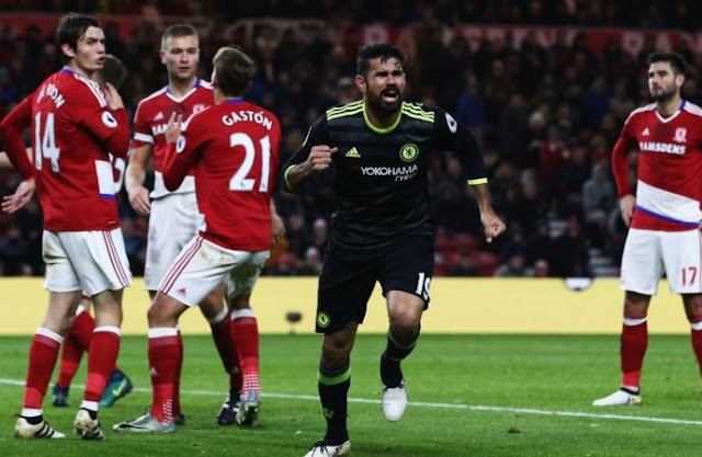 Diego Costa nets winner as Chelsea beat Middlesbrough