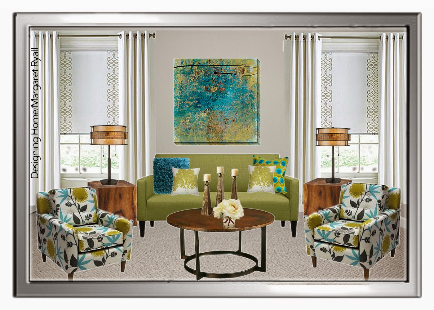 fresh living room scheme, fresh green, turquoise