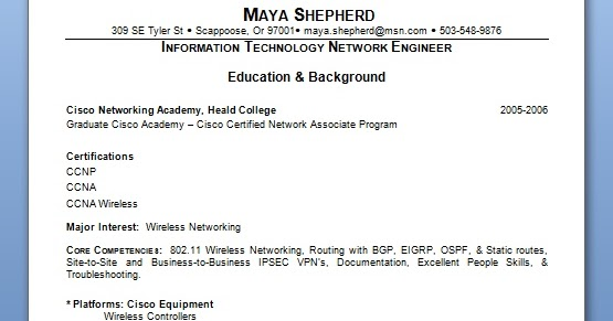Information Technology Network Engineer Sample Resume Format in Word - static equipment engineer sample resume