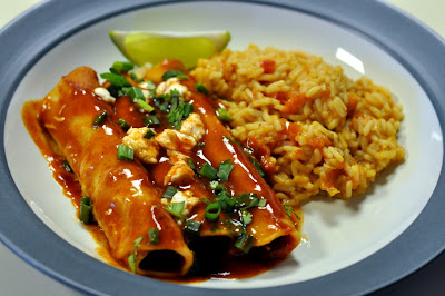 Cheese Enchiladas with Spanish Rice - Photo by Taste As You Go