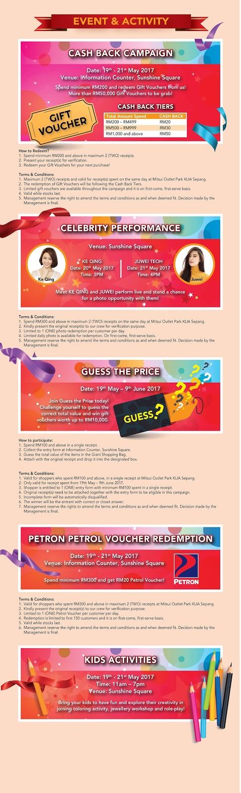 Mitsui Outlet Park Cash Back Campaign Gift Voucher Promo