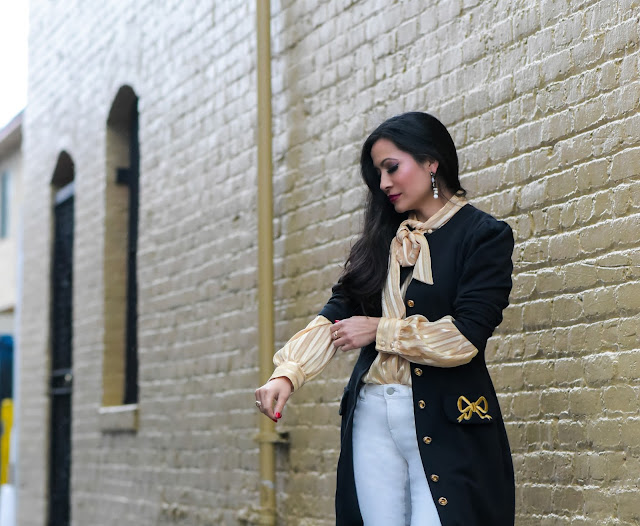 gold bow blouse white boho beaded earrings navy military coat white J Brand corduroy skinny pants black zara mid-calf leather boots petite blogger California fashion blogger Joanna Joy A Stylish Love Story Fashion Blog
