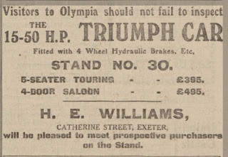 H E Williams advert from the Exeter and Plymouth Gazette, 10-10-1925