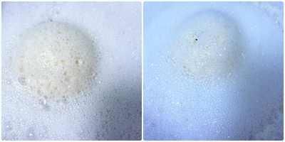 Photo of Rose bombshell bath bomb from Lush in water, fizzing