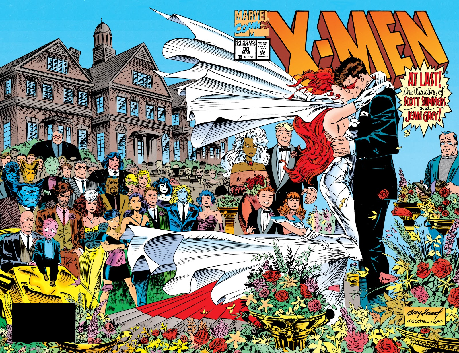 Jean and Scott kissing at wedding in front of assembled friends outside the X-Mansion