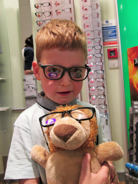 Project 365 9th June - D and the class teddy Thomas BB8 trying on some new glasses