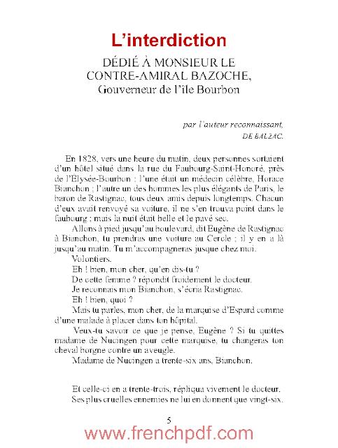 Nouvelles: L'interdiction en pdf par Honoré de Balzac
