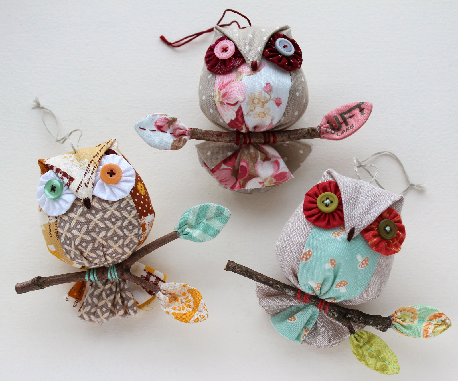 Patchworkpottery owl ornaments for Eid decorations to make at home
