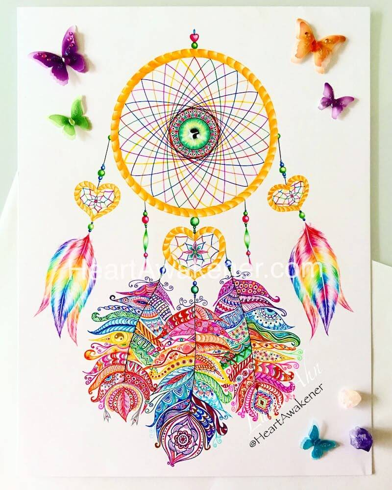 Rainbow Dream Catcher drawing by Luna Ahn
