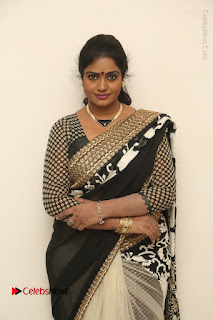 Telugu Actress Jayavani Jayavani Stills in Black Saree at Intlo Deyyam Nakem Bhayam Success Meet  0049.JPG