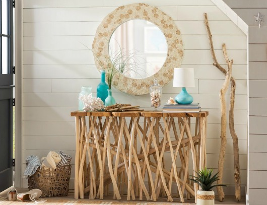 Coastal Entryway Design with Large Mirror