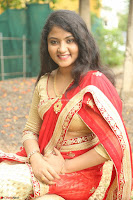 Akshara in Red Saree Golden Choli at LV Movie Makers Production No 1 Movie Opening ~  Exclusive 008.JPG