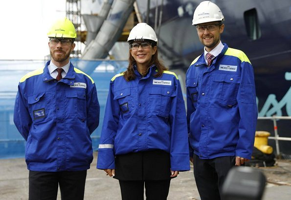 Crown Princess Mary of Denmark and Jan Meyer visited the Finnish cruise ship building company Meyer Turku