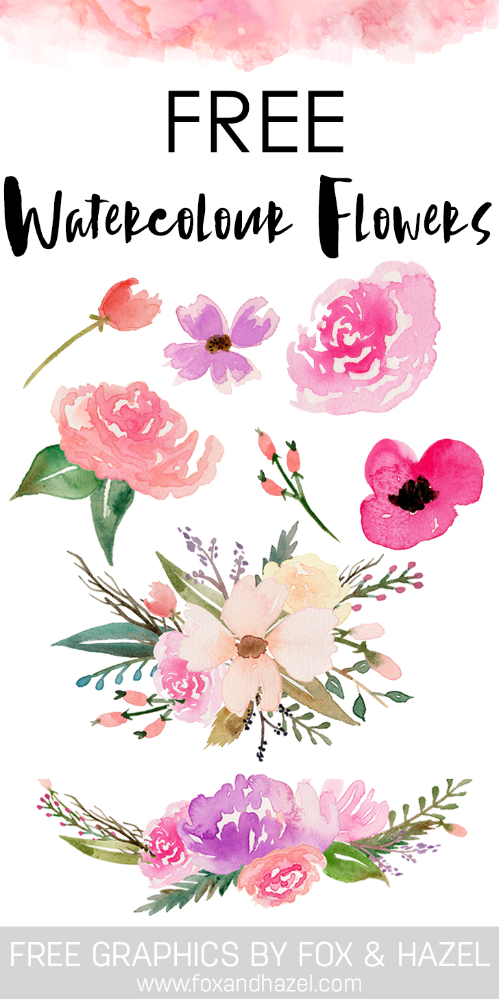 Free Watercolor Flower Graphics - Fox + Hazel