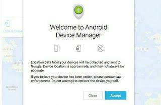 Fitur Android Device Manager untuk Melacak
