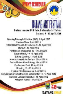 "Event: Batang | 9-16 April 2016 | Jadwal Batang Art Festival HUT Kab. Batang ke 50 th ""Batang Emas"""