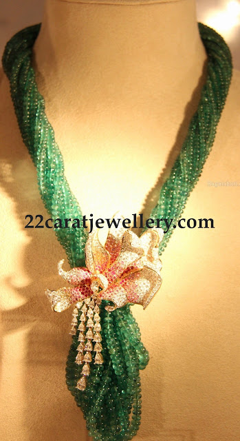 Emerald Beads Set with Rose Diamond Motif