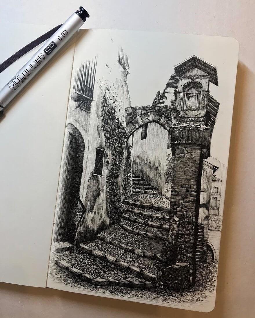 02-Tuscany-Italy-Mariusz-Uryszek-Ink-Architectural-Urban-Sketches-www-designstack-co