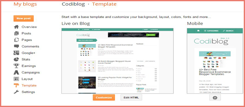 find code in blogger template editor