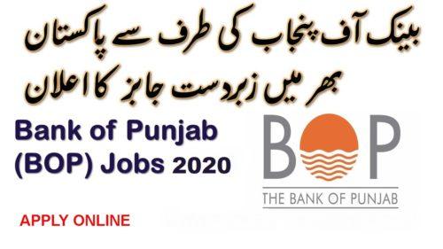 Bank of Punjab Jobs 2020 BOP Online Apply Latest Advertisement