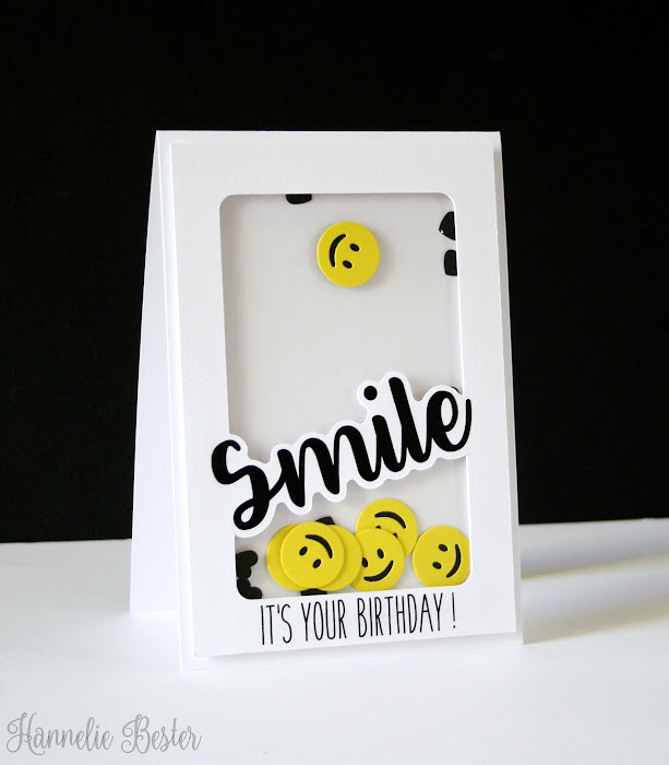 smiley face birthday shaker card