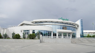 A cinema from year 2000 in Ashgabat. Its the most modern cinema in town.