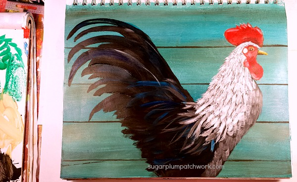 rooster painting in progress