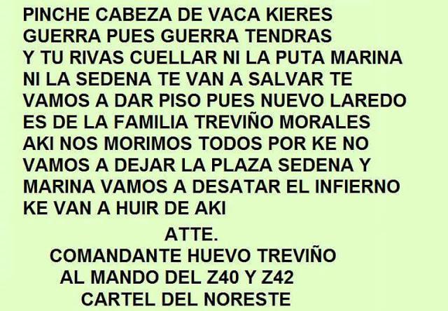 Este es mensaje del CDN  manda a Gob de Tamaulipas y alcalde de Nuevo Laredo