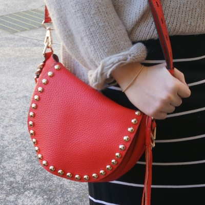 striped skirt, Rebecca Minkoff unlined saddle bag in cherry red | AwayFromTheBlue