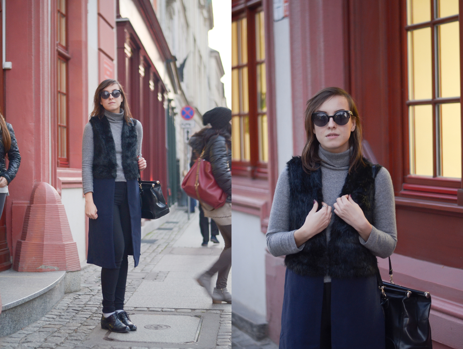 Fashion blogger street style look with mixed materials long fur vest, cashmere turtle neck sweater and high waist jeans