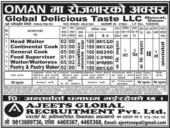 Free Visa, Free Ticket, Jobs For Nepali In OMAN, Salary -Rs.83,100/