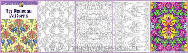 kleurboek art nouveau patterns