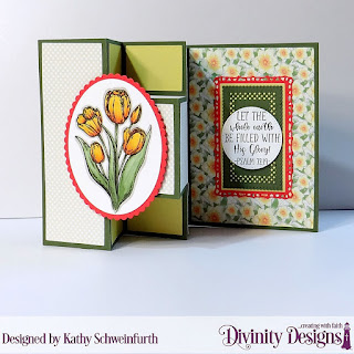Divinity Designs Stamp Set: Glorious Easter, Custom Dies: Half Shutter with Layers, Ovals, Scalloped Ovals, Lavish Layers, Pierced Circles, Paper Collections: Spring Flowers 2019, Pastel