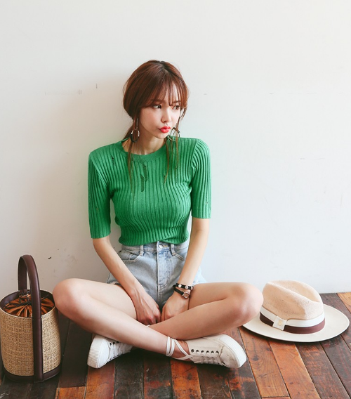 Stretchy Distressed Knit T-Shirt