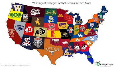 Winningest College Football Teams in Each State