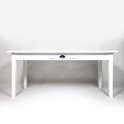 Table rectangle 210x90 1 tiroir en pin massif blanche made-in-meubles.com